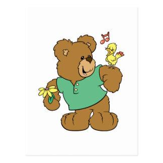 Cute Songbird and Teddy Bear Postcard