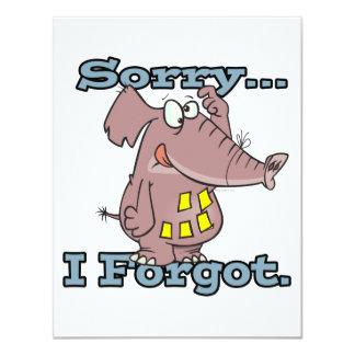 cute sorry i forgot funny forgetful elephant 4.25x5.5 paper invitation card