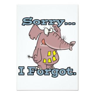 cute sorry i forgot funny forgetful elephant 5x7 paper invitation card