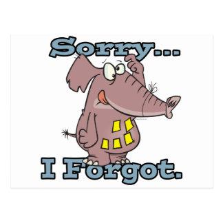 cute sorry i forgot funny forgetful elephant postcard