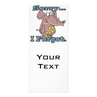 cute sorry i forgot funny forgetful elephant rack card design