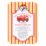 Cute Sound The Alarm Firetruck Baby Shower Invite Custom Invitations