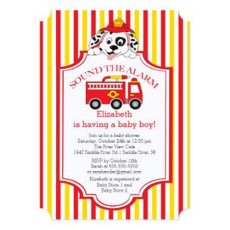 Cute Sound The Alarm Firetruck Baby Shower Invite