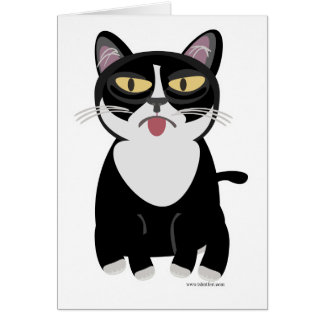 Cute Sourpuss Cartoon Cat Card