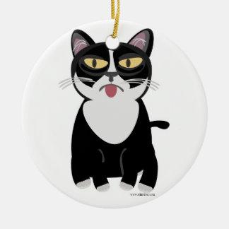 Cute Sourpuss Cartoon Cat Ceramic Ornament