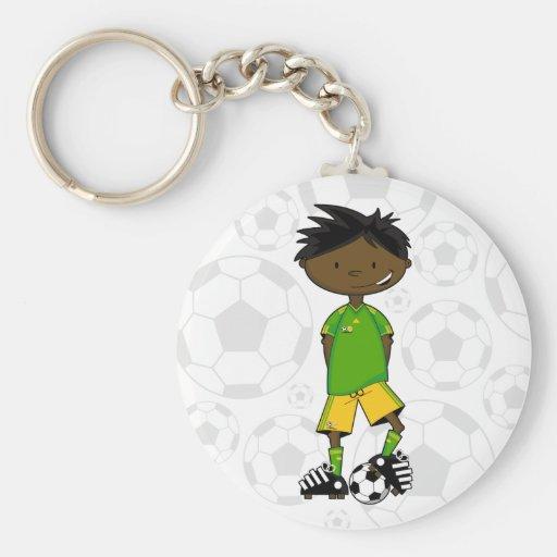Cute South African Soccer Boy Keychain