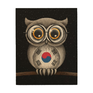 Cute South Korean Flag Owl Wearing Glasses Wood Wall Decor
