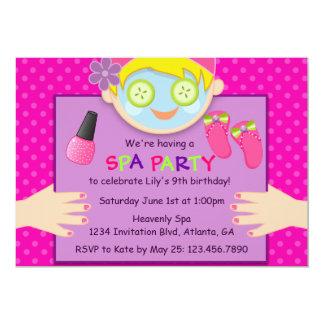 Cute Spa Birthday Party 5x7 Paper Invitation Card