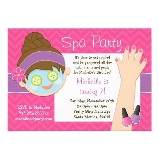 "Cute Spa Birthday Party Invitation 5"" X 7"" Invitation Card ..."