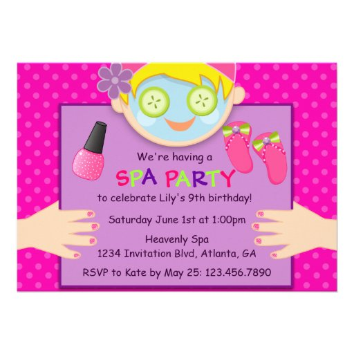 Personalized Pamper party Invitations – Spa Party Birthday Invitations