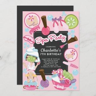 Cute Spa Party Birthday Invitation