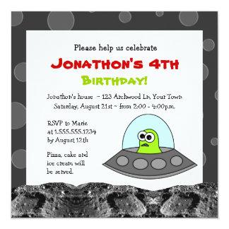 Cute Space Alien Theme Kids Birthday Custom Invite