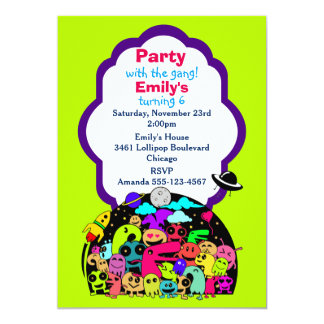 Cute Space Creatures Birthday Party Invite