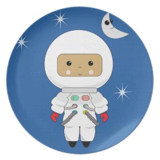 Cute Space Dude Kawaii Melamine Plate