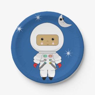 """Cute Space Dude Kawaii Paper Plates 7"""""""