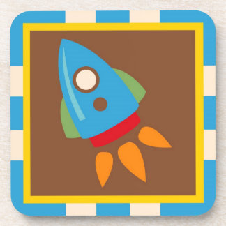 Cute Space Ship Rocket Outer Space Blue Kids Beverage Coaster