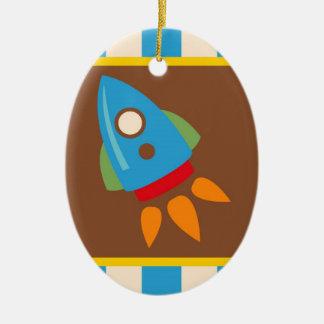 Cute Space Ship Rocket Outer Space Blue Kids Ceramic Ornament