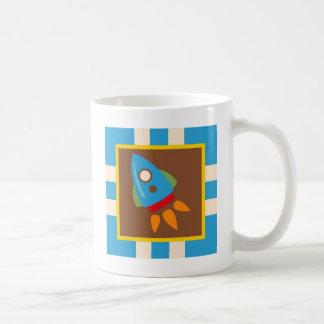 Cute Space Ship Rocket Outer Space Blue Kids Coffee Mug