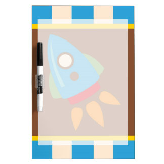 Cute Space Ship Rocket Outer Space Blue Kids Dry Erase Board