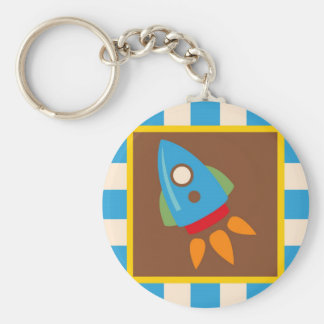 Cute Space Ship Rocket Outer Space Blue Kids Keychain