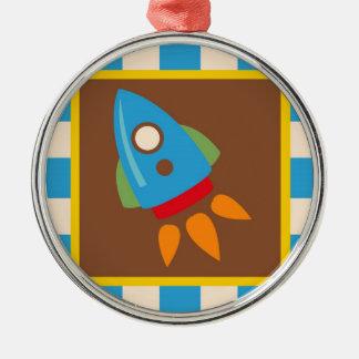 Cute Space Ship Rocket Outer Space Blue Kids Metal Ornament