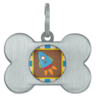Cute Space Ship Rocket Outer Space Blue Kids Pet ID Tag