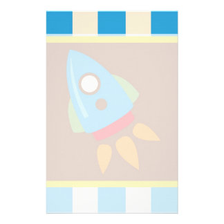 Cute Space Ship Rocket Outer Space Blue Kids Stationery