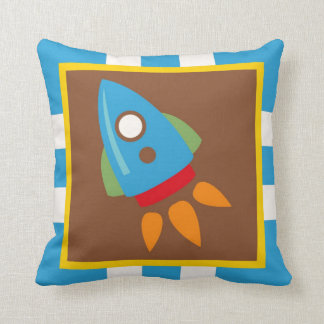 Cute Space Ship Rocket Outer Space Blue Kids Throw Pillow