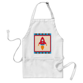 Cute Space Ship Rocket Outer Space Red Blue Adult Apron