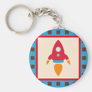 Cute Space Ship Rocket Outer Space Red Blue Basic Round Button Keychain
