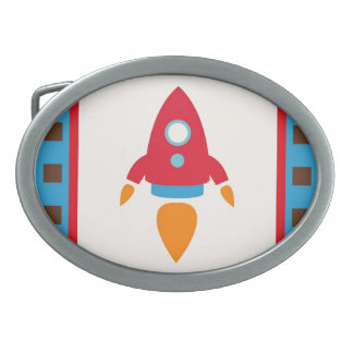 Cute Space Ship Rocket Outer Space Red Blue Belt Buckles