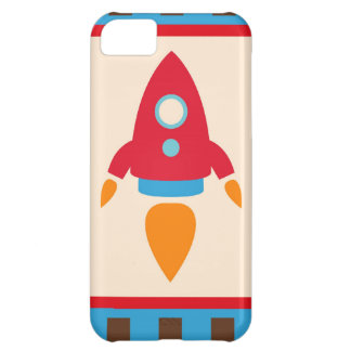 Cute Space Ship Rocket Outer Space Red Blue Case For iPhone 5C