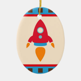 Cute Space Ship Rocket Outer Space Red Blue Ceramic Ornament