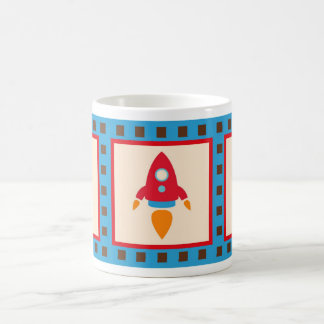 Cute Space Ship Rocket Outer Space Red Blue Coffee Mug