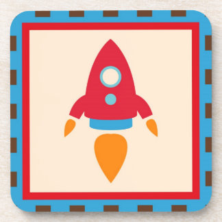 Cute Space Ship Rocket Outer Space Red Blue Drink Coaster