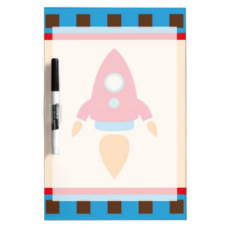 Cute Space Ship Rocket Outer Space Red Blue Dry-Erase Board