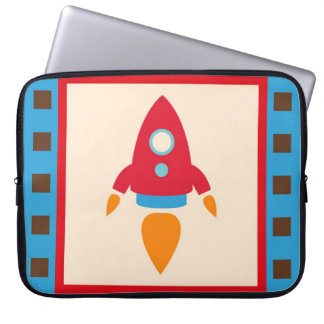 Cute Space Ship Rocket Outer Space Red Blue Laptop Computer Sleeve