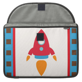 Cute Space Ship Rocket Outer Space Red Blue Sleeve For MacBooks