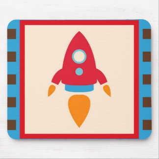 Cute Space Ship Rocket Outer Space Red Blue Mouse Pads
