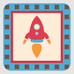 Cute Space Ship Rocket Outer Space Red Blue Sticker