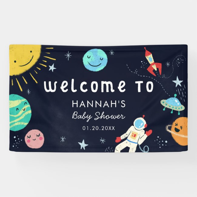 Cute Space Theme Baby Shower Welcome Banner