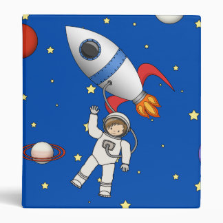 Cute Space Walk Astronaut and Rocketship Binder
