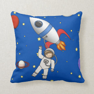 Cute Space Walk Astronaut and Rocketship by CM Pillow