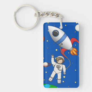 Cute Space Walk Astronaut and Rocketship Double-Sided Rectangular Acrylic Keychain