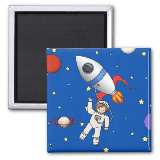 Cute Space Walk Astronaut and Rocketship Magnet