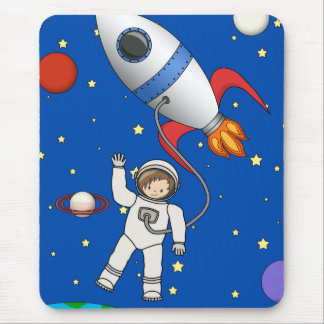 Cute Space Walk Astronaut and Rocketship Mouse Pad