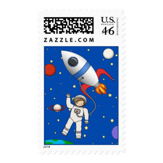 Cute Space Walk Astronaut and Rocketship Stamp
