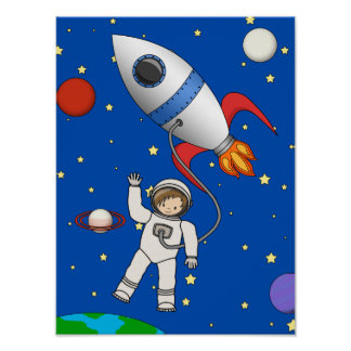 Cute Space Walk Astronaut and Rocketship Poster