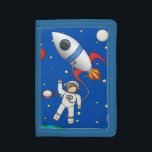"""Cute Space Walk Astronaut and Rocketship Tri-fold Wallet<br><div class=""""desc"""">A cute and fun design for kids with a deep blue galaxy background featuring stars,  planets and the moon. A spaceship or rocket in red,  white and blue orbits the solar system while a little boy spaceman or astronaut takes a moon walk.</div>"""