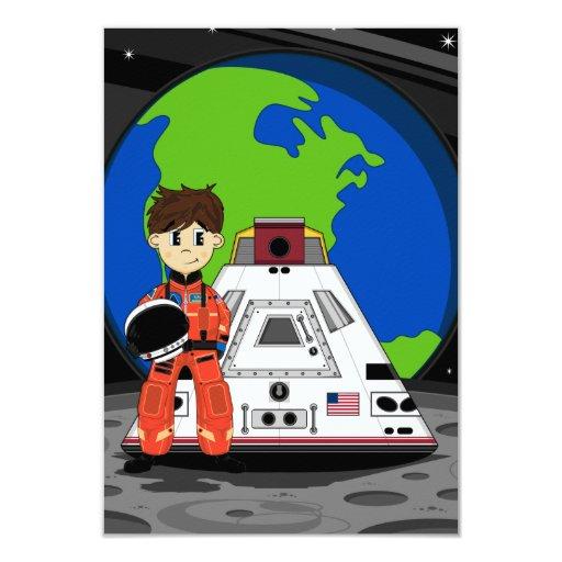 Cute Spaceman RSVP Card Invites